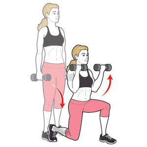 dumbbell-lunge-curl